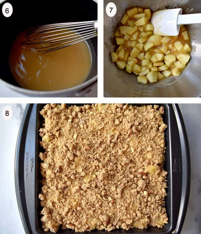 Process steps 6-8 for making gluten free apple dessert