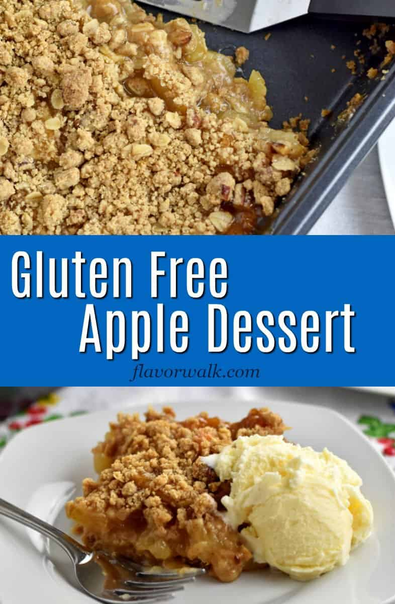 This Gluten Free Apple Dessert is the perfect treat for apple lovers. The sweet apple filling sits on a streusel crust and is topped with more delicious streusel. If you're a fan of apples, you have to try this yummy dessert!