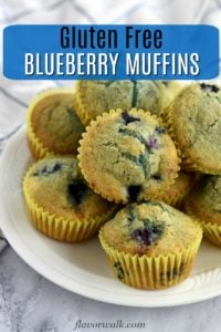 Gluten free blueberry muffins on white plate with text overlay near top