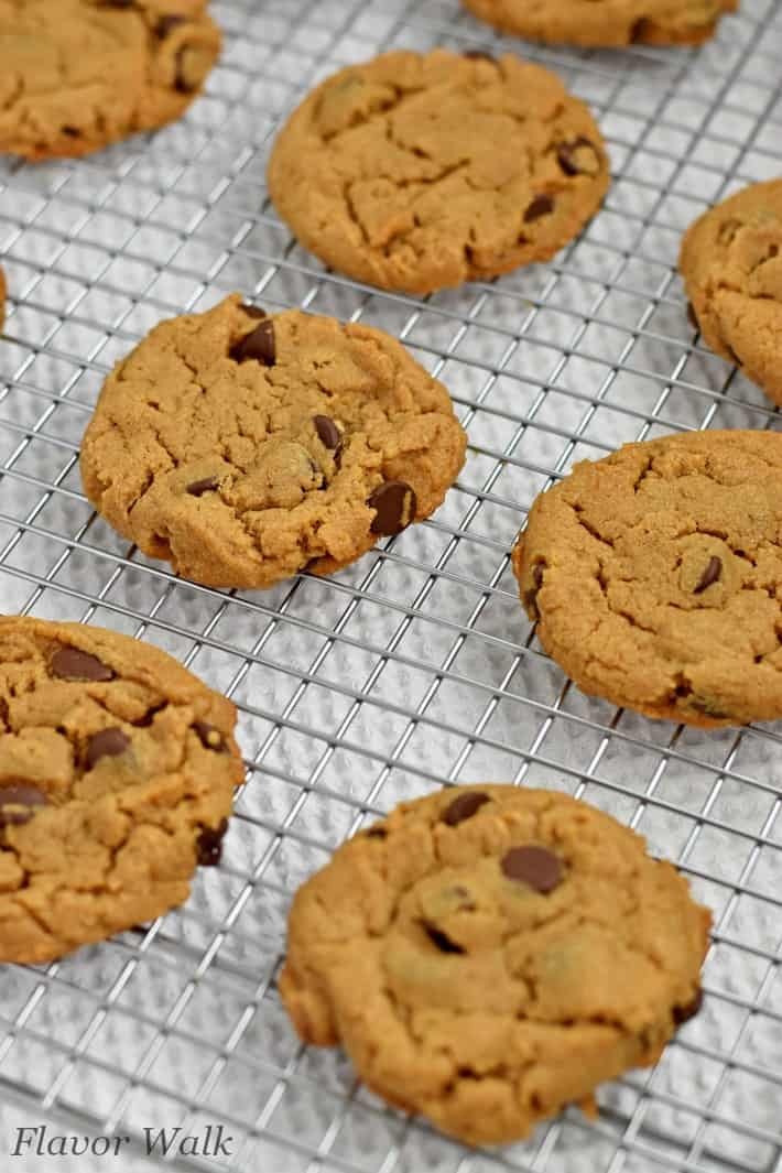 Gluten Free Peanut Butter Chocolate Chip Cookies cooling on wire rack