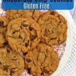 Plate of gluten free peanut butter chocolate chip cookies with text overlay