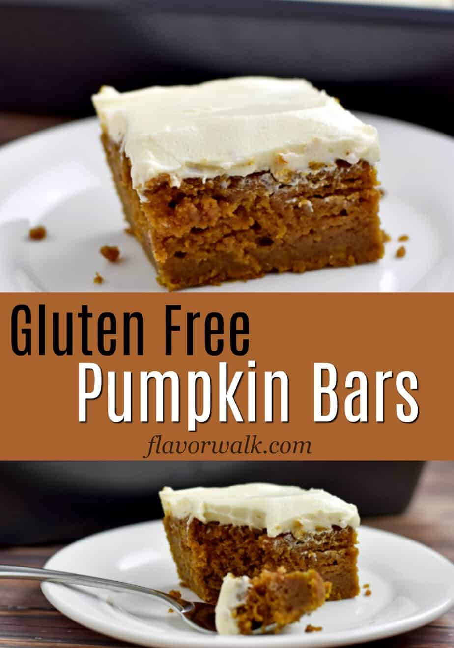 Serving of gluten free pumpkin bars above text and another serving below text