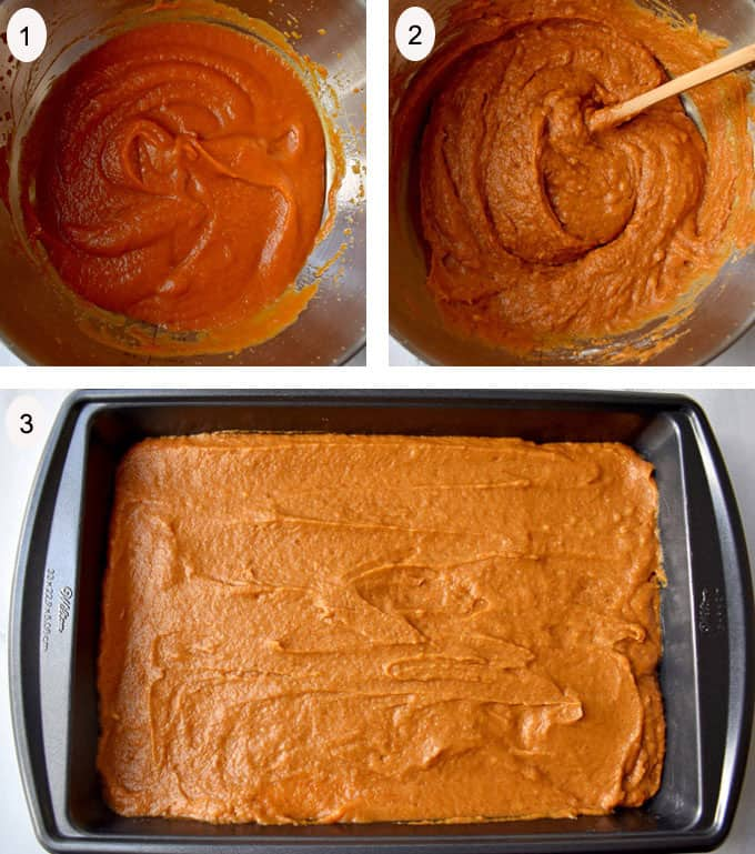Process steps 1-3 for making gluten free pumpkin bars.