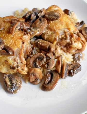 Overhead view of a serving of chicken marsala with rice on a white dinner plate