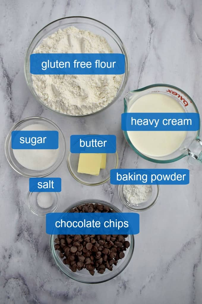 Overhead view of ingredients needed to make Gluten Free Chocolate Chip Scones