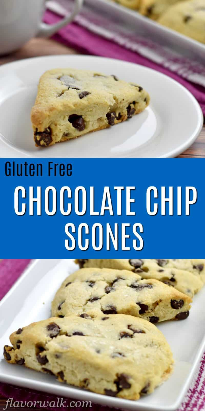 Top image is 1 gluten free chocolate chip scone on white plate with more scones and white coffee cup in background, bottom image is 3 scones on white rectangular plate, and middle image is text overlay on blue background