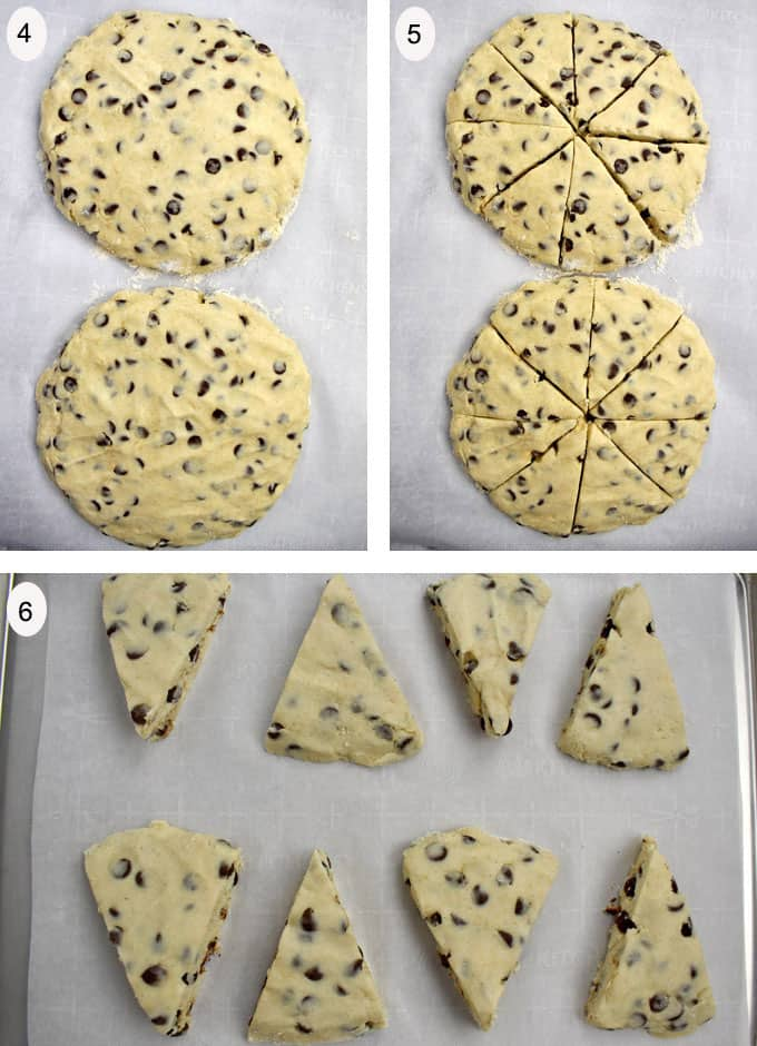 Process shots 4-6 for making gluten free chocolate chip scones
