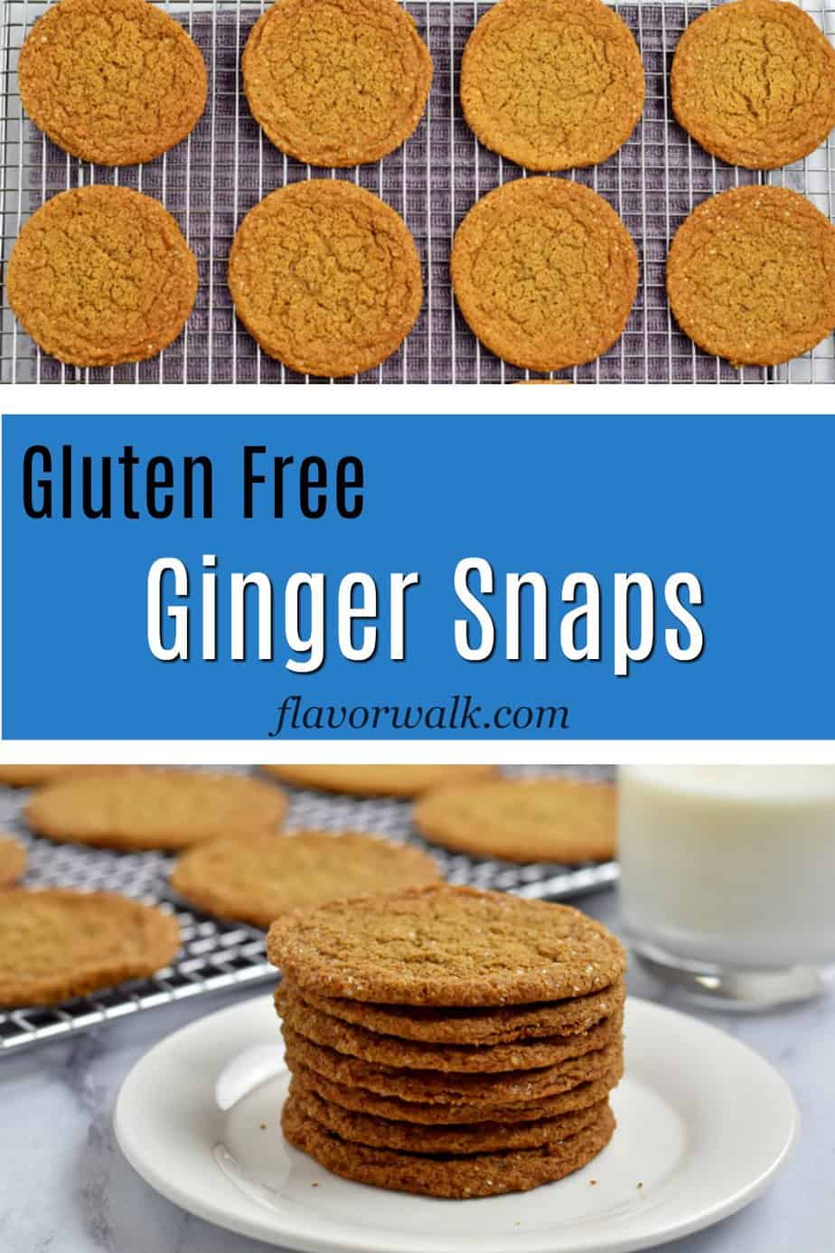 Top image is a wire rack with gluten free ginger snaps, bottom image is stack of gluten free ginger snaps on white plate, middle image is a blue text box