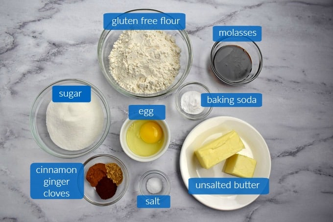 Ingredients for making Gluten Free Ginger Snaps