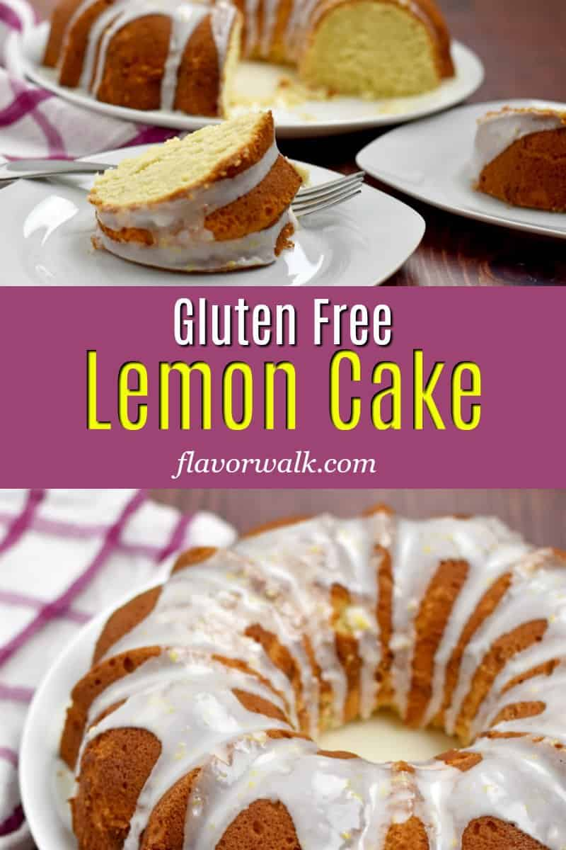 Top image is slices of gluten free lemon cake, bottom image is overhead view of gluten free lemon cake, and middle image is a purple text overlay