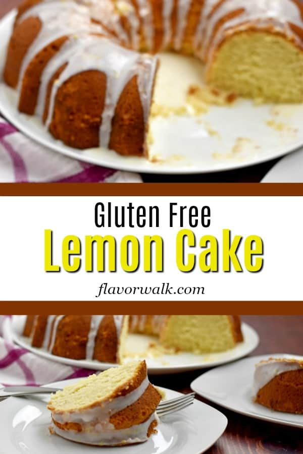 Top image is overhead view of Gluten Free Lemon Cake, middle image is white box with black and yellow text and bottom image is slices of Gluten Free Lemon Cake