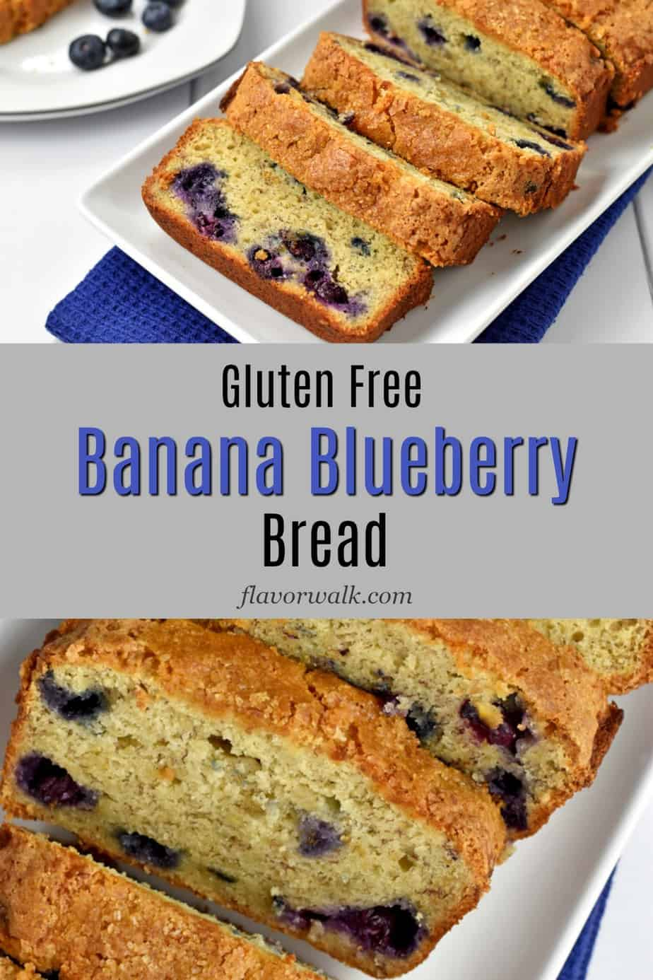 Top image is a sliced loaf of gluten free banana blueberry bread. Middle image is a gray text overlay. Bottom image is an overhead shot of the sliced loaf of gluten free banana blueberry bread.