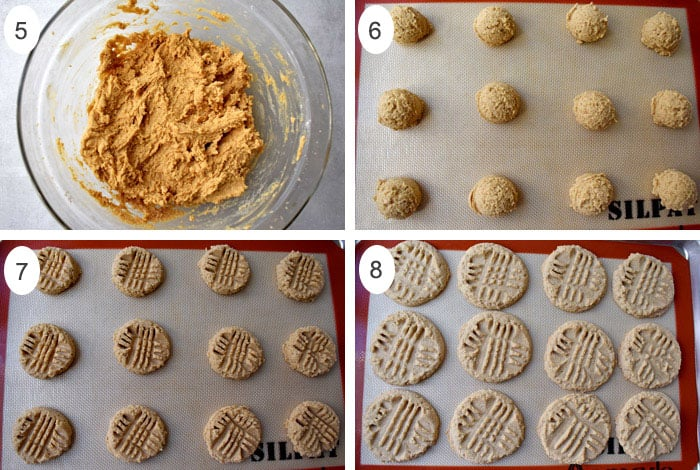 Process shots 5-8 for making gluten free peant butter cookies.