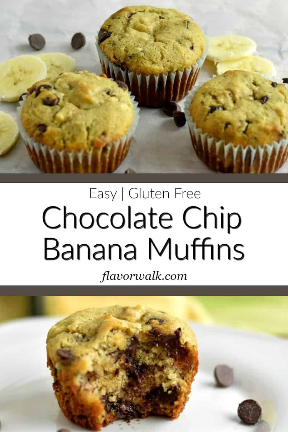Top image is 3 gluten free chocolate chip banana muffins surrounded by chocolate chips and slices of banana, middle image is a text overlay, bottom image is a gluten free chocolate chip banana muffin missing a bite.