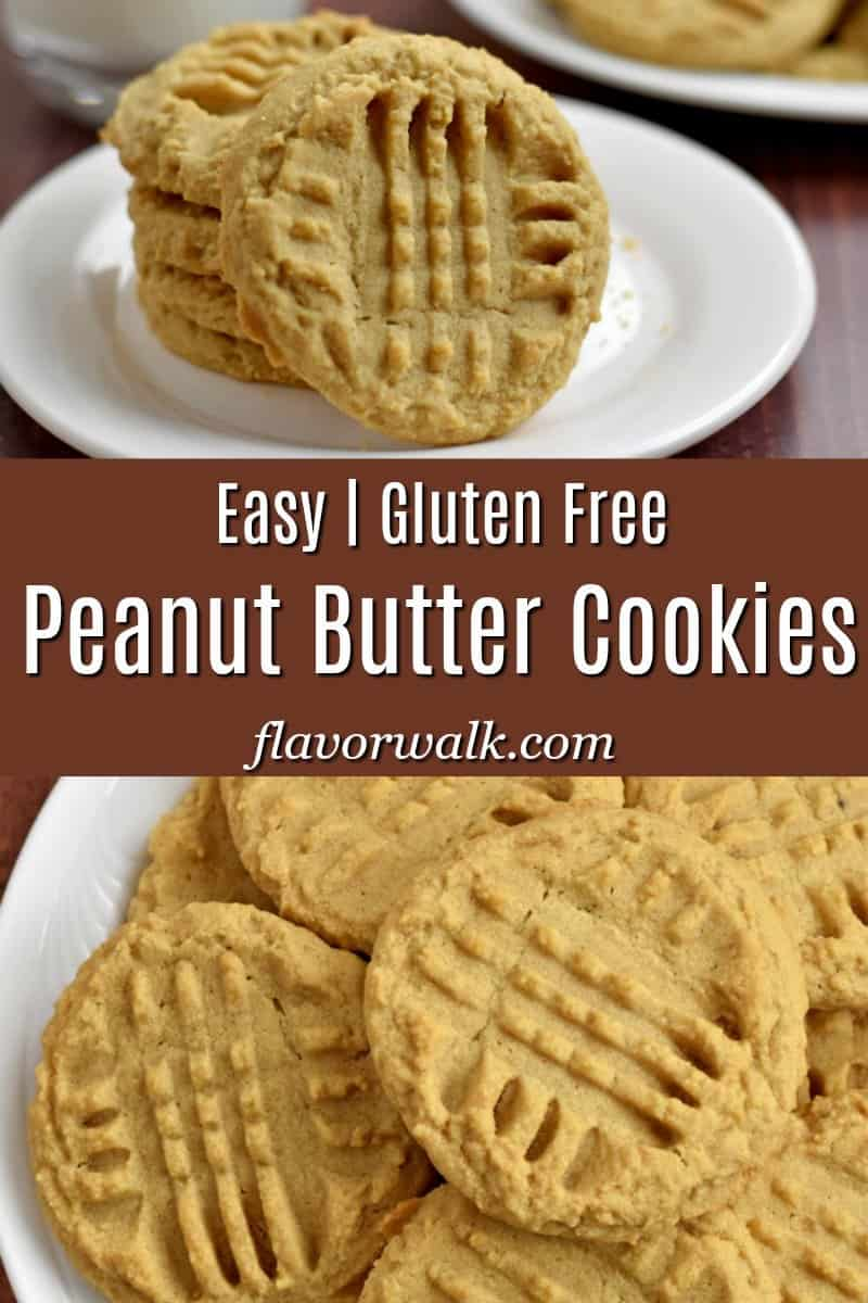 Top image is stack of 4 gluten free peanut butter cookies, middle image is brown text overlay, bottom image is overhead view of plate of gluten free peanut butter cookies.