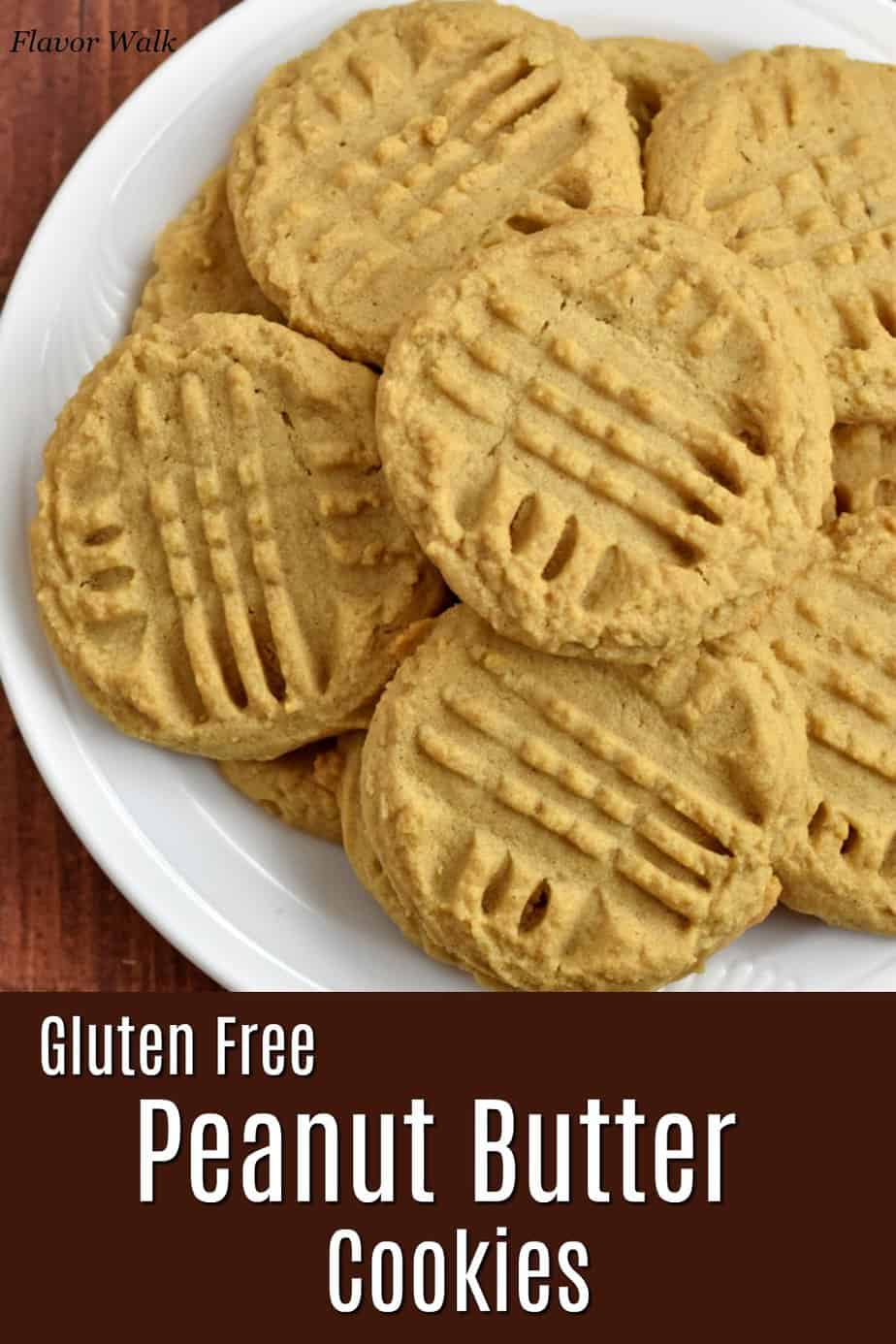 Top image is an overhead view of a plate of gluten free peanut butter cookies and bottom image is a brown text overlay.