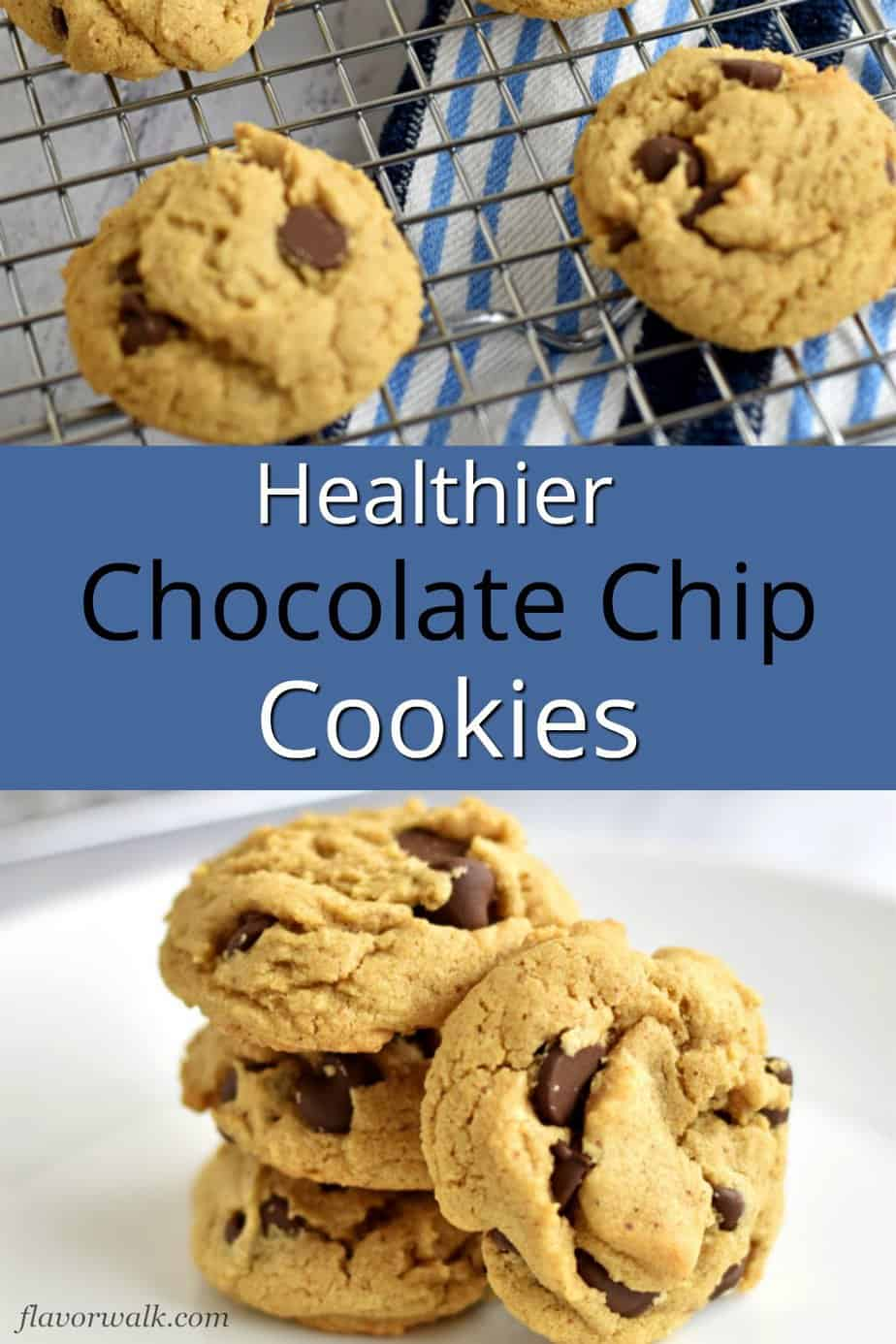 Top image is four chocolate chip almond butter cookies on a wire rack, middle image is blue text overlay, bottom image is a stack of four chocolate chip almond butter cookies on a round white plate.