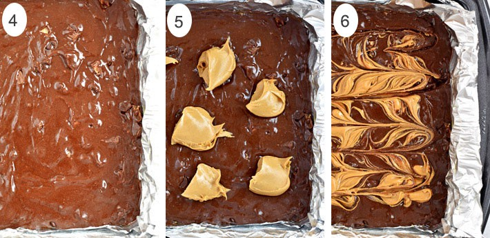 Process shots 4-6 for making gluten free peanut butter brownies