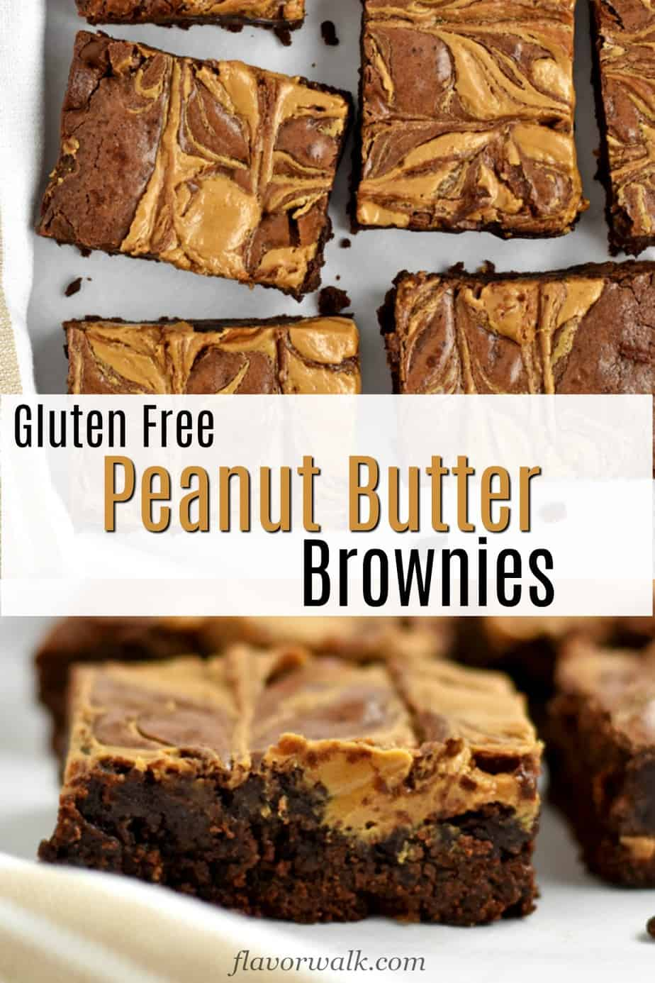 Top image is overhead view of gluten free peanut butter brownies on parchment paper, middle image is text overlay, bottom image is close up of gluten free peanut butter brownies.