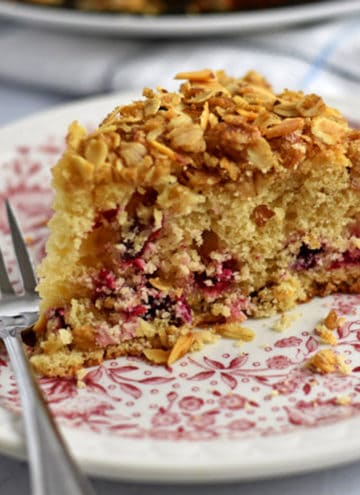 A slice of cranberry coffee cake and a fork on a pink and white floral plate