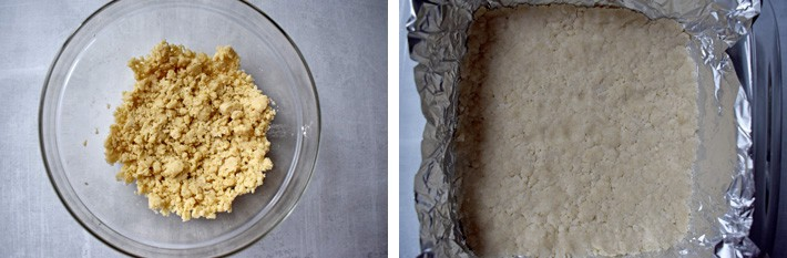 First image is a glass mixing bowl containing dough for the lemon bars crust. Second image is a foil-lined 8x8 baking dish with the lemon bar dough pressed in the bottom of the dish.