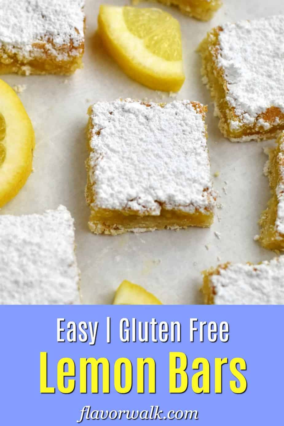 Upper image is gluten free lemon bars and lemon slices on parchment paper. Bottom image is a light blue text overlay.