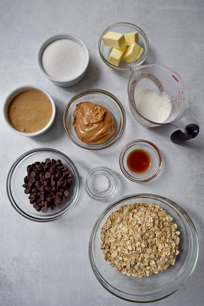 Overhead view of ingredients for making No Bake Cookies with Chocolate Chips.