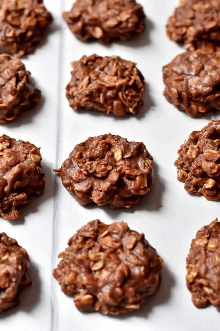 No Bake Cookies with Chocolate Chips on parchment paper.