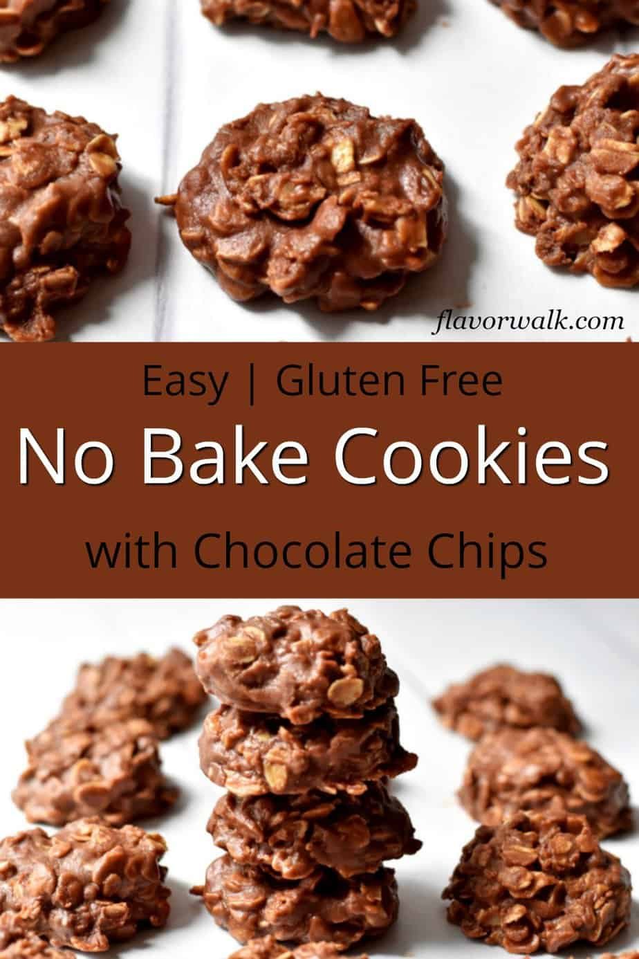 Upper image is no bake cookies on parchment paper, middle image is brown text overlay, bottom image is a stack of no bake cookies with chocolate chips surrounded by additional cookies.