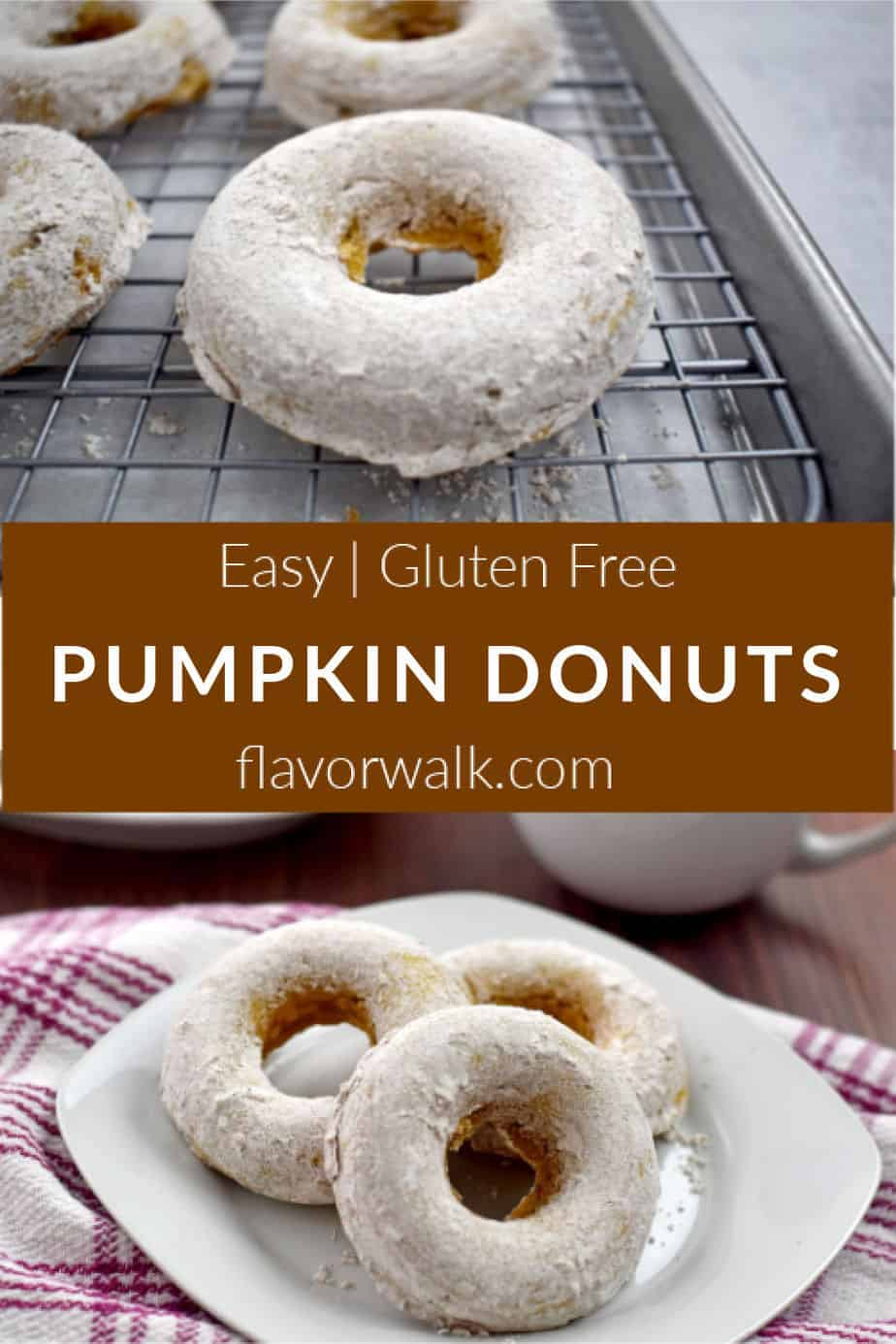 A Pinterest pin with gf pumpkin donuts on a wire rack in top image, three gf pumpkin donuts on white plate in bottom image, and brown text box in between the images.