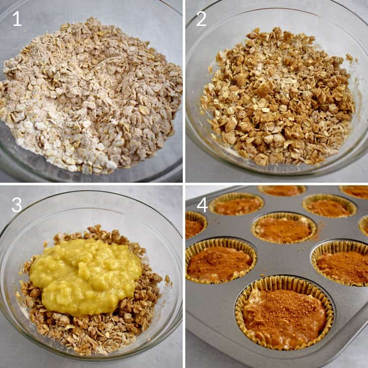 Process shots 1-4 for making gluten free banana oatmeal muffins.