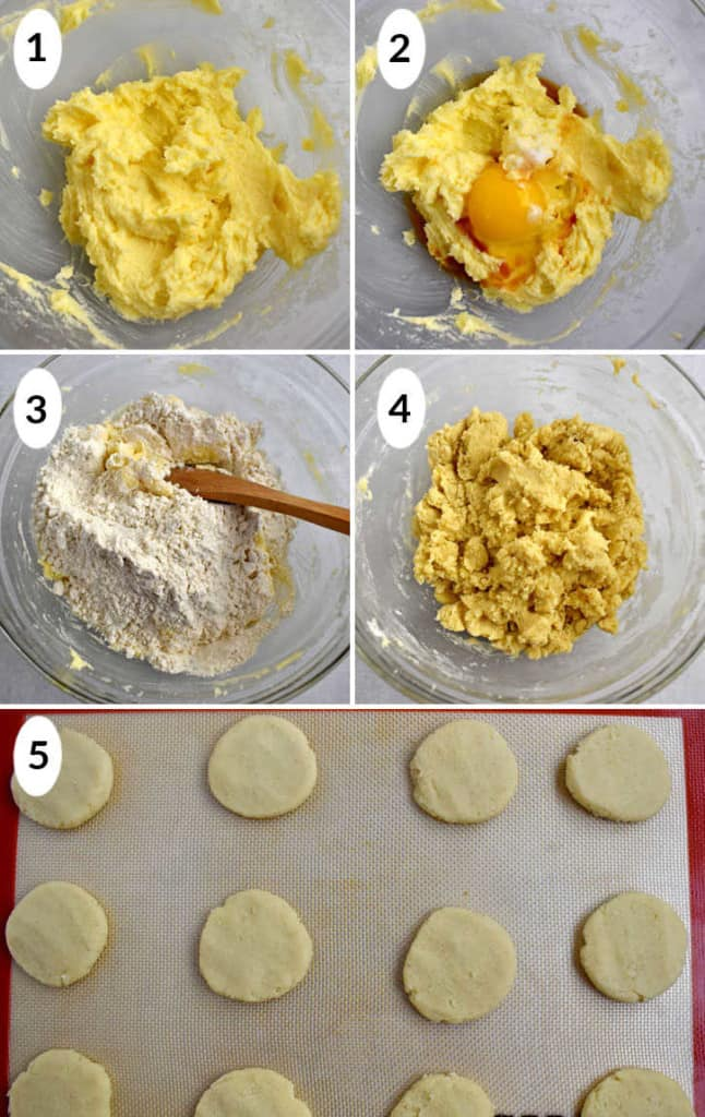 Process shots 1-5 for making gluten free butter cookies.